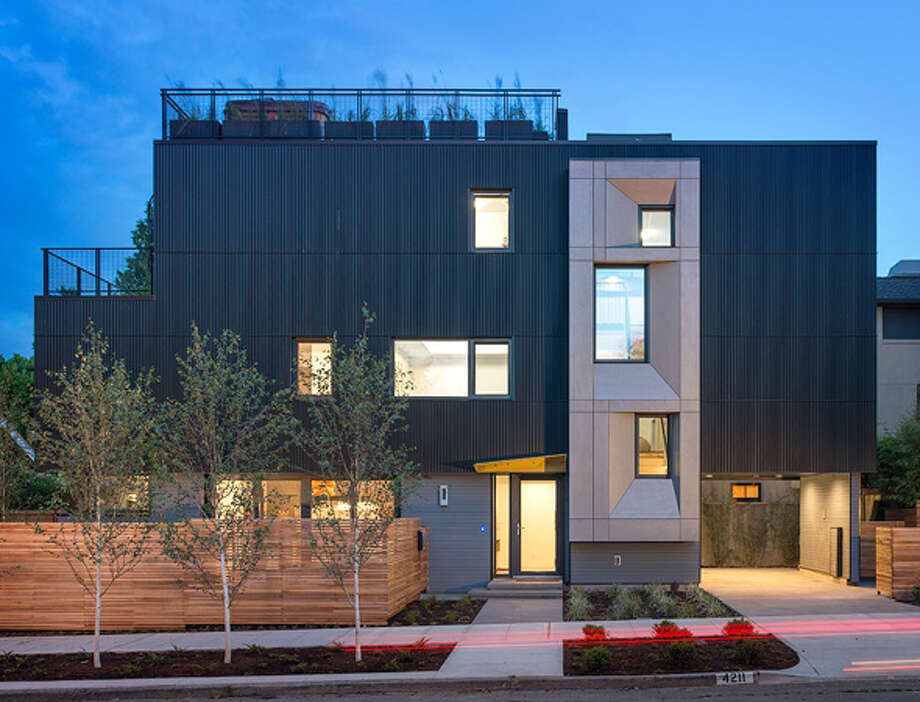 Exterior of Park Passive, in Madison Park. It is Seattle's first certified Passive House, according to developer Cascade Built. Photo: Aaron Leitz