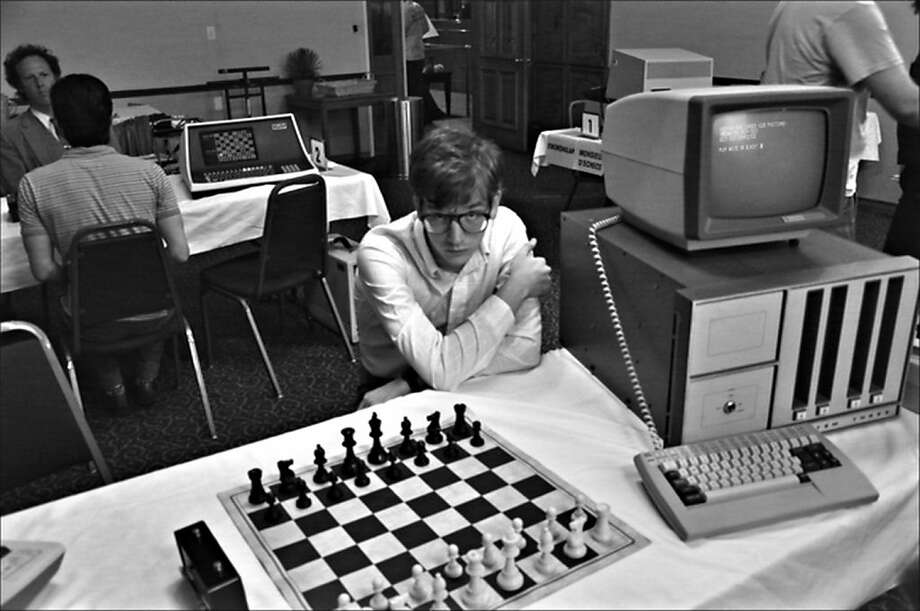"Patrick Riester plays nerd Peter Bishton in ""Computer Chess,"" set at a time in the development of technology when a computer could not beat a human. Photo: Kino Lorber"