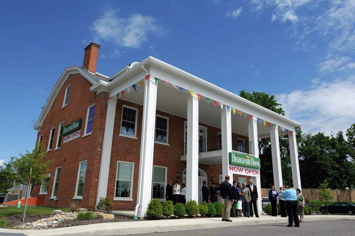A ribbon cutting ceremony marked the opening of a new Berkshire Bank branch in the historic Stanford mansion Wednesday morning, July 24, 2013, in Niskayuna, N.Y. The bank branch is located in Mansion Square at the intersections of Balltown Road and State Street. (Will Waldron/Times Union)