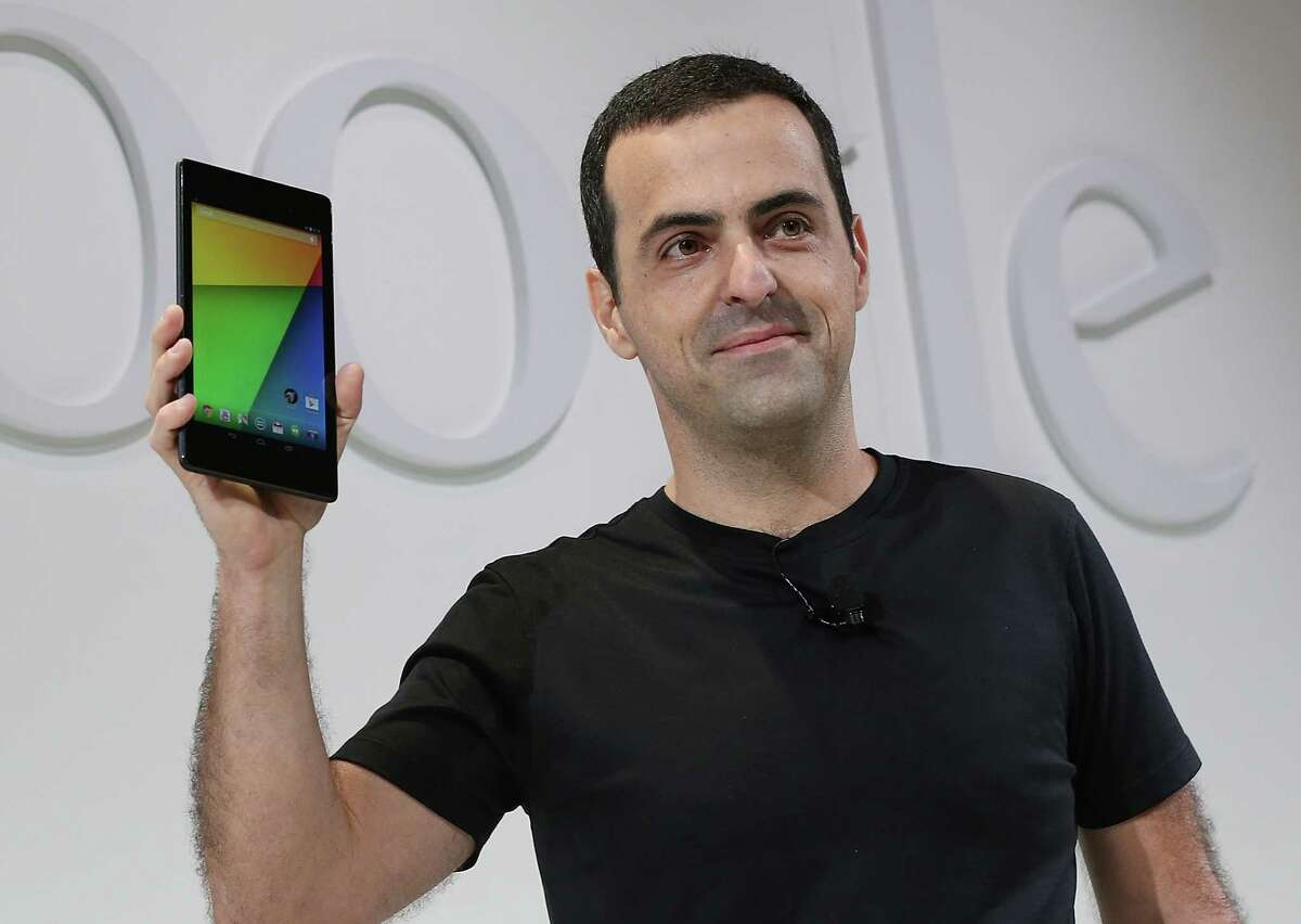SAN FRANCISCO, CA - JULY 24: Hugo Barra, Vice President, Android Product Management at Google, holds up a new Asus Nexus 7 tablet as he speaks during a special event at Dogpatch Studios on July 24, 2013 in San Francisco, California. Google announced a new Asus Nexus 7 tablet. (Photo by Justin Sullivan/Getty Images) ORG XMIT: 174475142