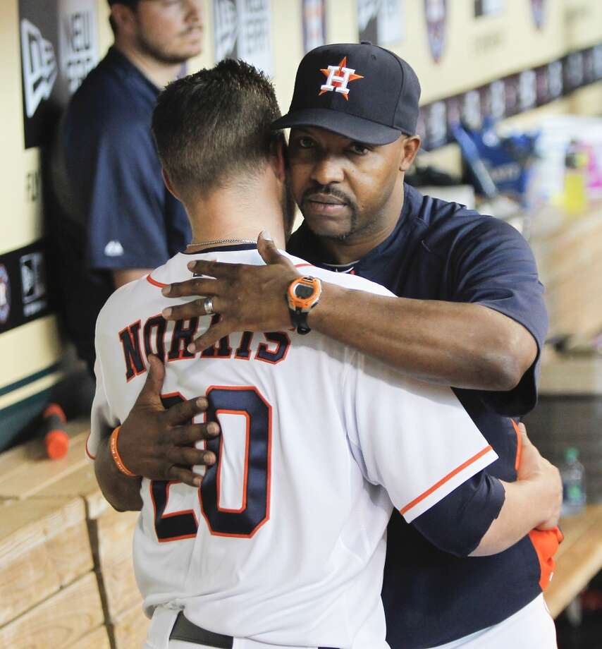 July 24: A's 4, Astros 3Bud Norris gets a hug from manager Bo Porter after being taken out of the game in the seventh inning. Norris allowed three runs on four hits in what could be his final home game at Minute Maid Park.   Record: 34-66. Photo: Bob Levey, Getty Images