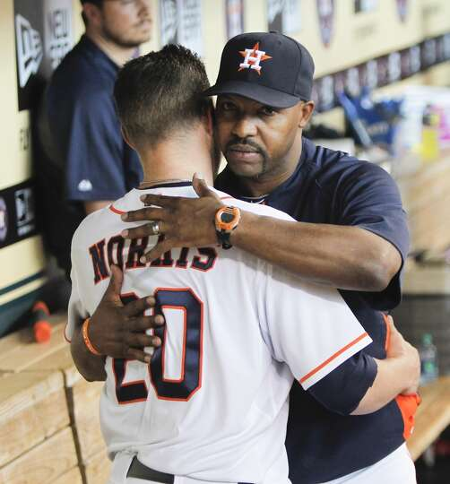 July 24: A's 4, Astros 3 Bud Norris gets a hug from manager Bo Por