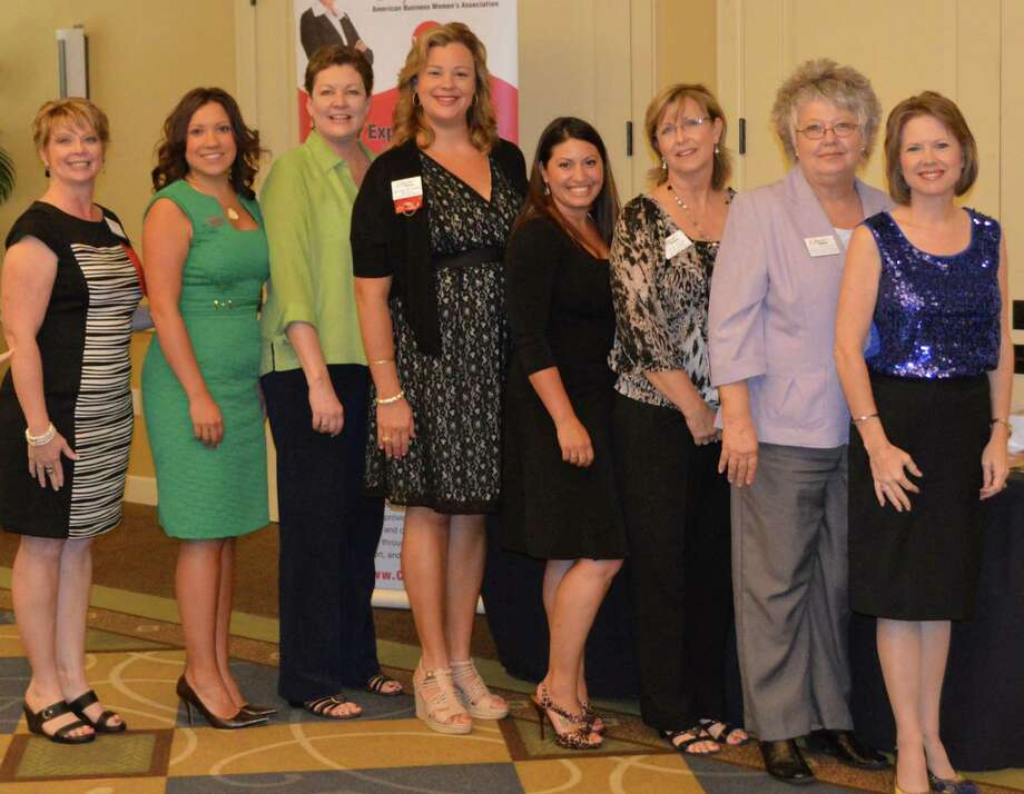 ABWA District II Vice President Gaylyn DeVine, far right, with the new board, from left: Nicole Travis, Jessica Smith, Kim McCully, Melanie Kay Hugele, Kristin Severson, Casey Cargle and Sally Stricklett. Photo: Courtesy Of Cy-Fair Express Network