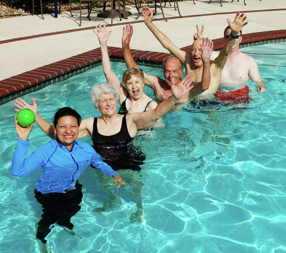 The Buckingham Senior Living Community celebrated its eighth anniversary with a month of special events including this pool relay. Photo: Provided By Buckingham Senior Living Community