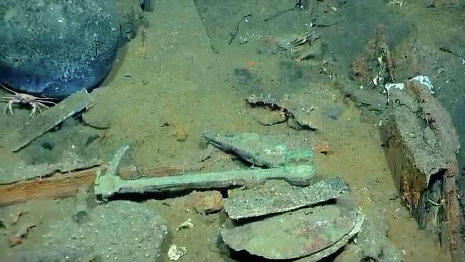 Items and sea life found in a Gulf shipwreck being explored by Texas A&M University at Galveston research scientists and  National Oceanic and Atmospheric Administration experts. (NOAA photo)