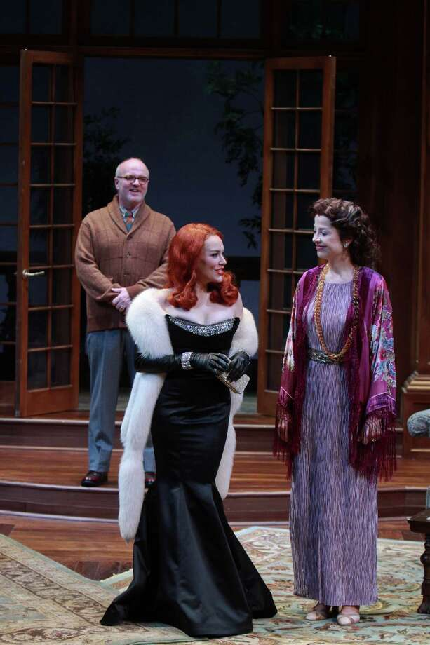 "Top: James Black as Sir Henry Angkatell, from left, Laura E. Campbell as Veronica Craye, and Josie de Guzman as Lady Angkatell, in the Alley Theatre's production of ""The Hollow."" Left: Period costume designs for ""The Hollow"" by Tricia Barsamian. Photo: Gary Fountain, Freelance / Copyright 2013 Gary Fountain"
