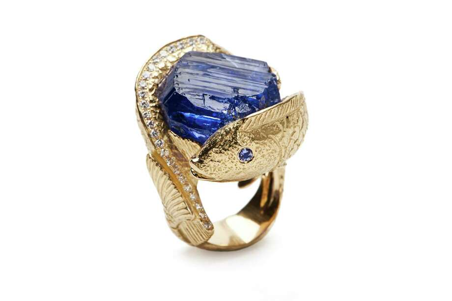 DIAMONDS IN THE ROUGHHouston jewelry designer Katy Briscoe's 18-carat uncut tanzanite crystal diamond ring is a rock solid statement; price upon request at Saks Fifth Avenue and katybriscoe.com. Photo: KENNON EVETT / KENNON EVETT
