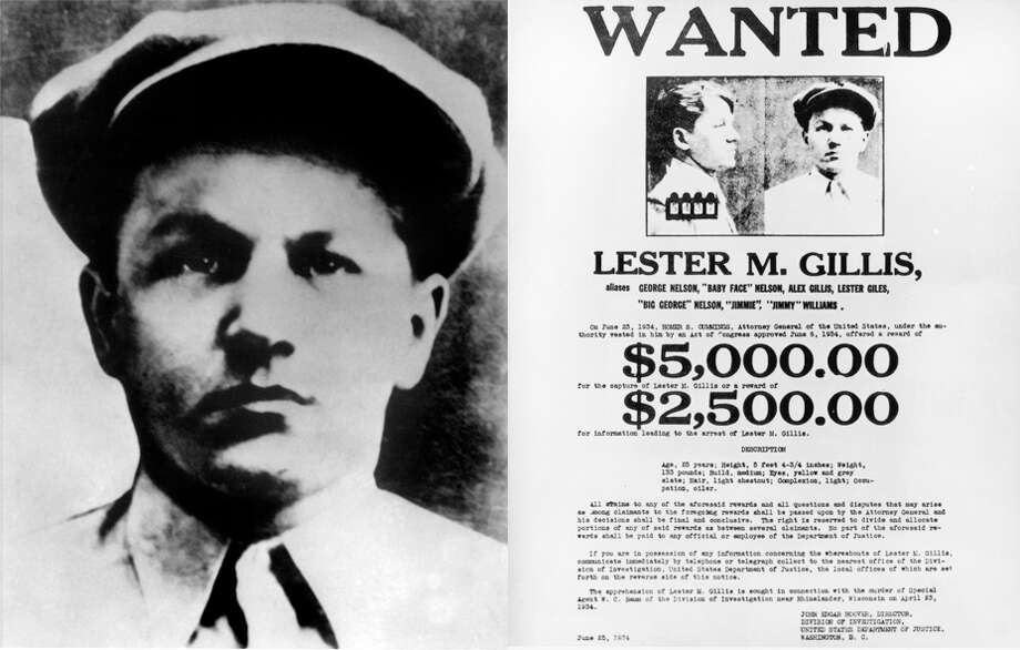 Lester J. Gillis, better known as 'Baby Face' George Nelson, was a bank robber in the 1930s who helped orchestrate fellow gangster John Dillinger's 'wooden pistol' escape from an Indiana prison. Photo: LEFT: OFF/AFP/Getty Images, RIGHT: Hulton Archive/Getty Images