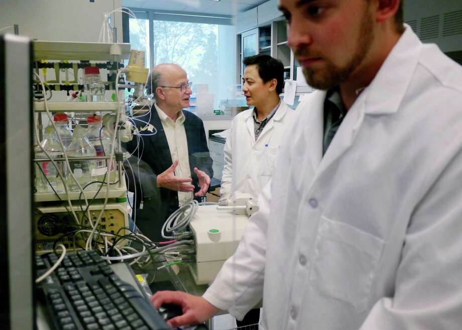 Bill Jaremko, foreground, a fourth year PhD student, works on a computer, as Paul Agris, background left, director of the RNA Institute at UAlbany, and Zhen Huang, a research scientist at the institute, discuss research in the lab of Li Niu, chair of the UAlbany Chemistry Department on Wednesday, July 24, 2013 at the UAlbany campus in Albany, NY.  Researchers at the lab are working with RNA to try to correct a protein malfunction, which may alleviate symptoms associated with ALS.    (Paul Buckowski / Times Union) Photo: Paul Buckowski / 00023294A