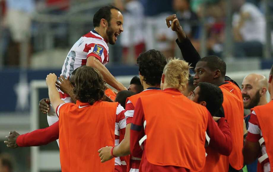 ARLINGTON, TX - JULY 24:  Landon Donovan #10 of the United States celebrates his goal against Honduras during the CONCACAF Gold Cup semifinal match at Cowboys Stadium on July 24, 2013 in Arlington, Texas. Photo: Ronald Martinez, Getty Images / 2013 Getty Images
