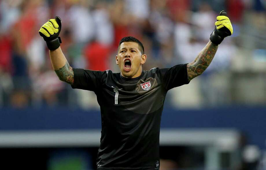 ARLINGTON, TX - JULY 24:  Goalkeeper Nick Rimando of the United States celebrates a goal by Eddie Johnson against Honduras during the CONCACAF Gold Cup semifinal match at Cowboys Stadium on July 24, 2013 in Arlington, Texas. Photo: Ronald Martinez, Getty Images / 2013 Getty Images