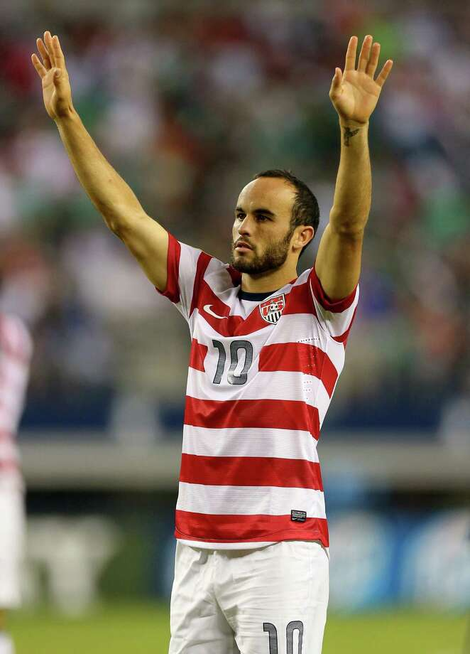 ARLINGTON, TX - JULY 24:  Landon Donovan #10 of the United States celebrates a 3-1 win against Honduras during the CONCACAF Gold Cup semifinal match at Cowboys Stadium on July 24, 2013 in Arlington, Texas. Photo: Ronald Martinez, Getty Images / 2013 Getty Images