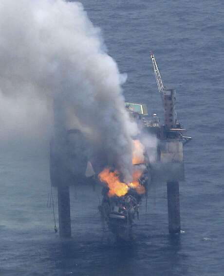 The Hercules 265 drilling rig, located 55 miles off the Louisiana coast in the Gulf of Mexico, caught on fire Tuesday. The rig was drilling a well when gas started flowing out of control, forcing the evacuation of 44 workers. No injuries were reported. Photo: Gerald Herbert / Associated Press