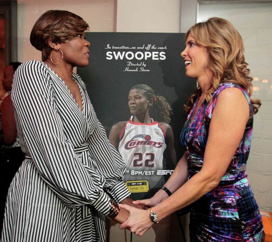 """Former Comets star Sheryl Swoopes, left, and ESPN's Hannah Storm were in Houston on Wednesday for the premier of """"Swoopes,"""" a documentary Storm directed. The film will air on ESPN on Tuesday. Photo: Billy Smith II, Staff / © 2013 Houston Chronicle"""