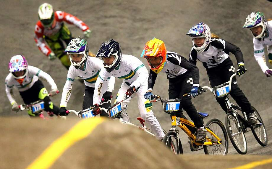 *** BESTPIX *** AUCKLAND, NEW ZEALAND - JULY 24: Riders take the first corner during day one of the UCI BMX World Championships at Vector Arena on July 24, 2013 in Auckland, New Zealand.  (Photo by Phil Walter/Getty Images) Photo: Phil Walter, Getty Images