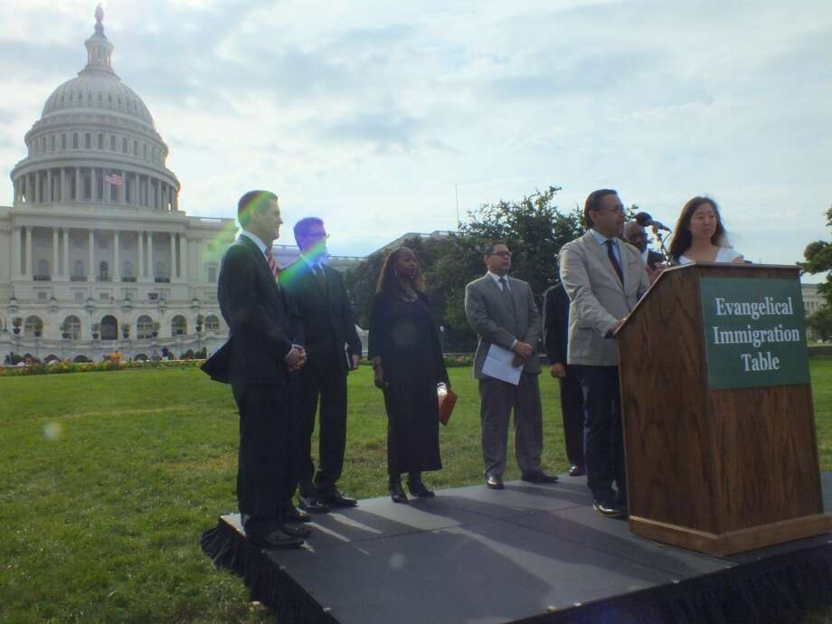 Members of the Evangelical Immigration Table rallied on the West Lawn of the Capitol Wednesday urging House leaders to proceed with comprehensive immigration reform that adheres to Christian values. Photo: Nicole Narea