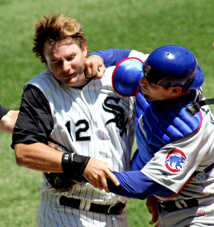 A.J. PierzynskiCubs catcher Michael Barrett lived the dream of baseball fans everywhere when he slugged Pierzynski back in 2006. Giants fans have a special loathing for Pierzynski, but most baseball fans certainly share in that hate as well. Photo: FRANK POLICH, REUTERS