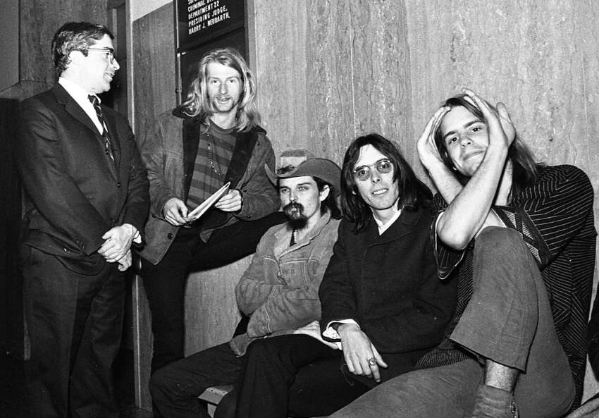 Members of the Grateful Dead at their sentencing, after SF police raided their 710 Ashbury St. home. More than a pound of marijuana was seized; the band used the event to make a pro-drug statement.