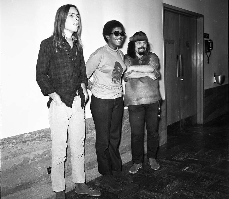 "Nov. 6, 1967: Ron ""Pig Pen"" McKernan, Bob Weir and a friend wait for their rebooking after a grand jury indictment. Photo: Jerry Telfer, The Chronicle"