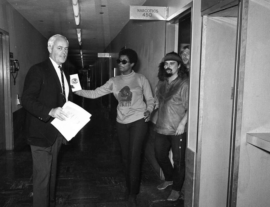Nov. 6, 1967: Members of the Grateful Dead and friends leave court after being rebooked. They were arrested after more than a pounds of marijuana was found at 710 Ashbury St. Photo: Jerry Telfer, The Chronicle
