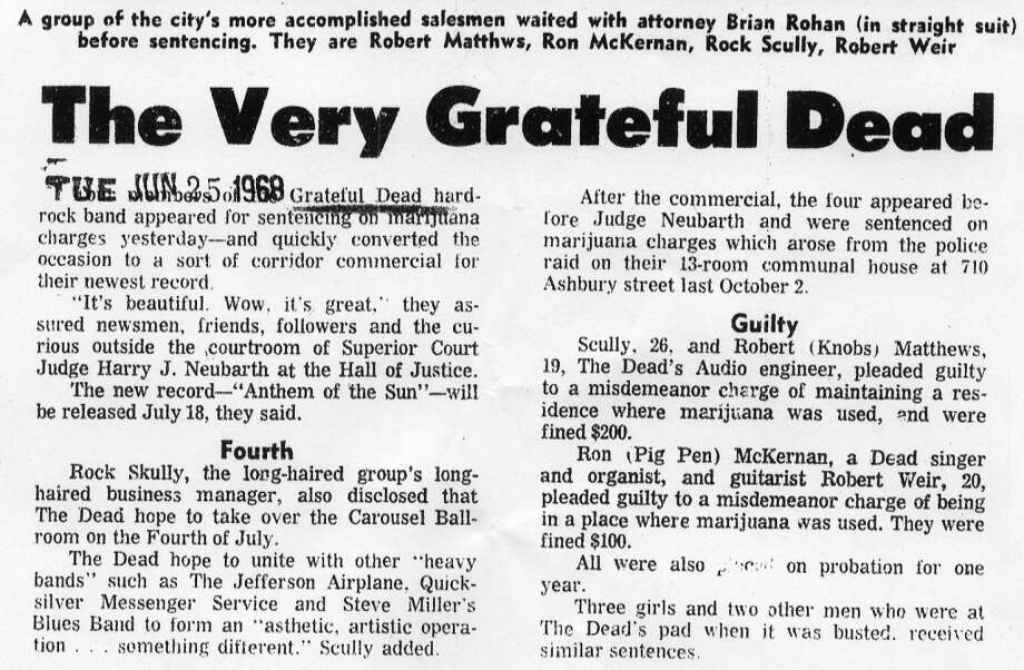 June 25, 1968: An article that ran after the sentencing of the Grateful Dead band members and friends who were charged with possession of marijuana. Photo: Chronicle Archive