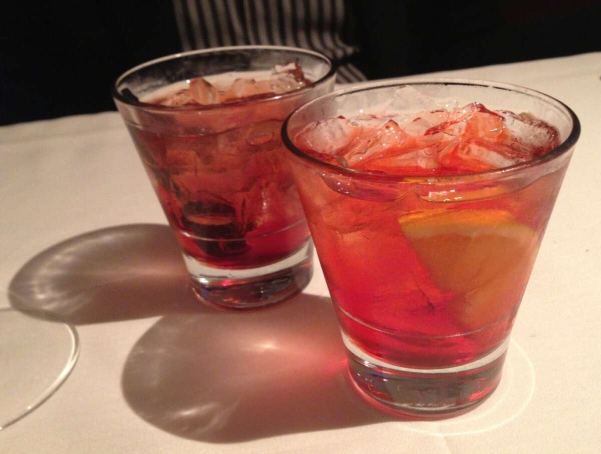 Negroni (front) and the Manhattan