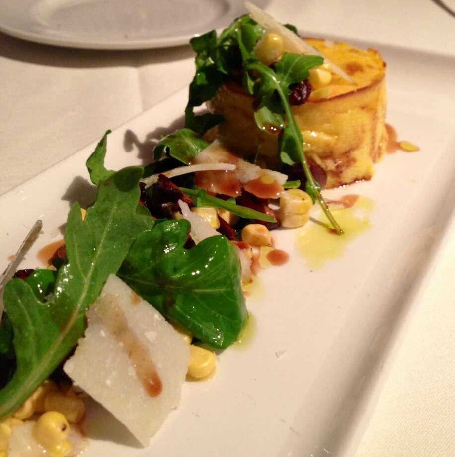 Corn sformatino with arugula and chanterelle mushrooms ($12)