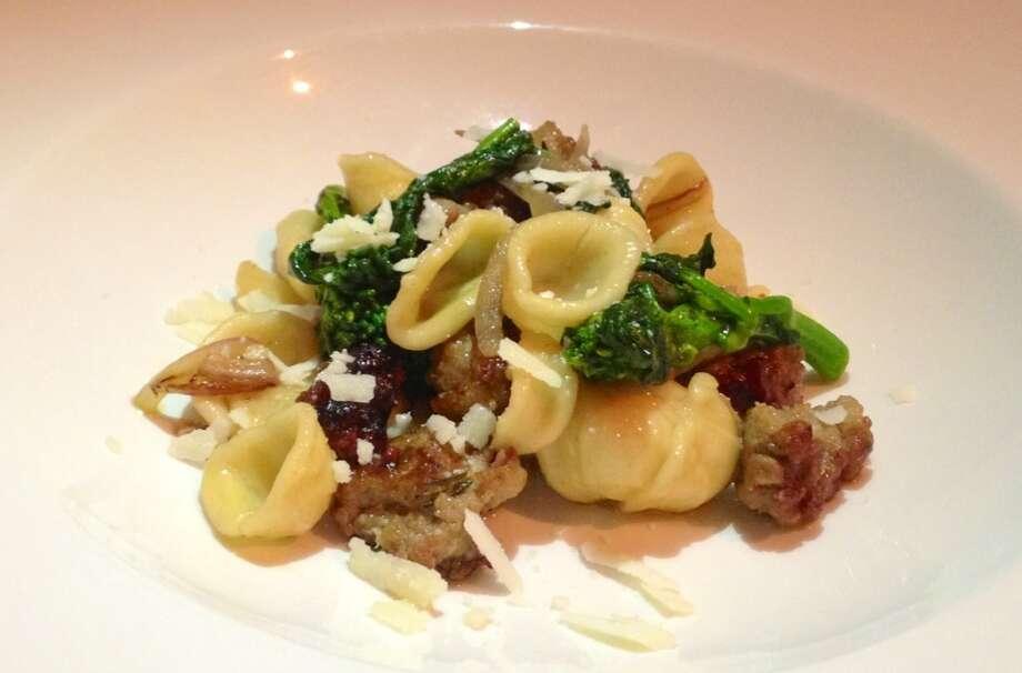 Orecchiette with Calabrian chile pork sausage broccoli di cicco and red onions ($10/$16)
