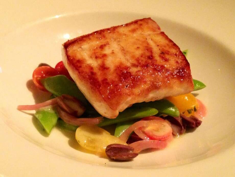 Halibut with romano beans, tomatoes, olives and tarragon ($28)