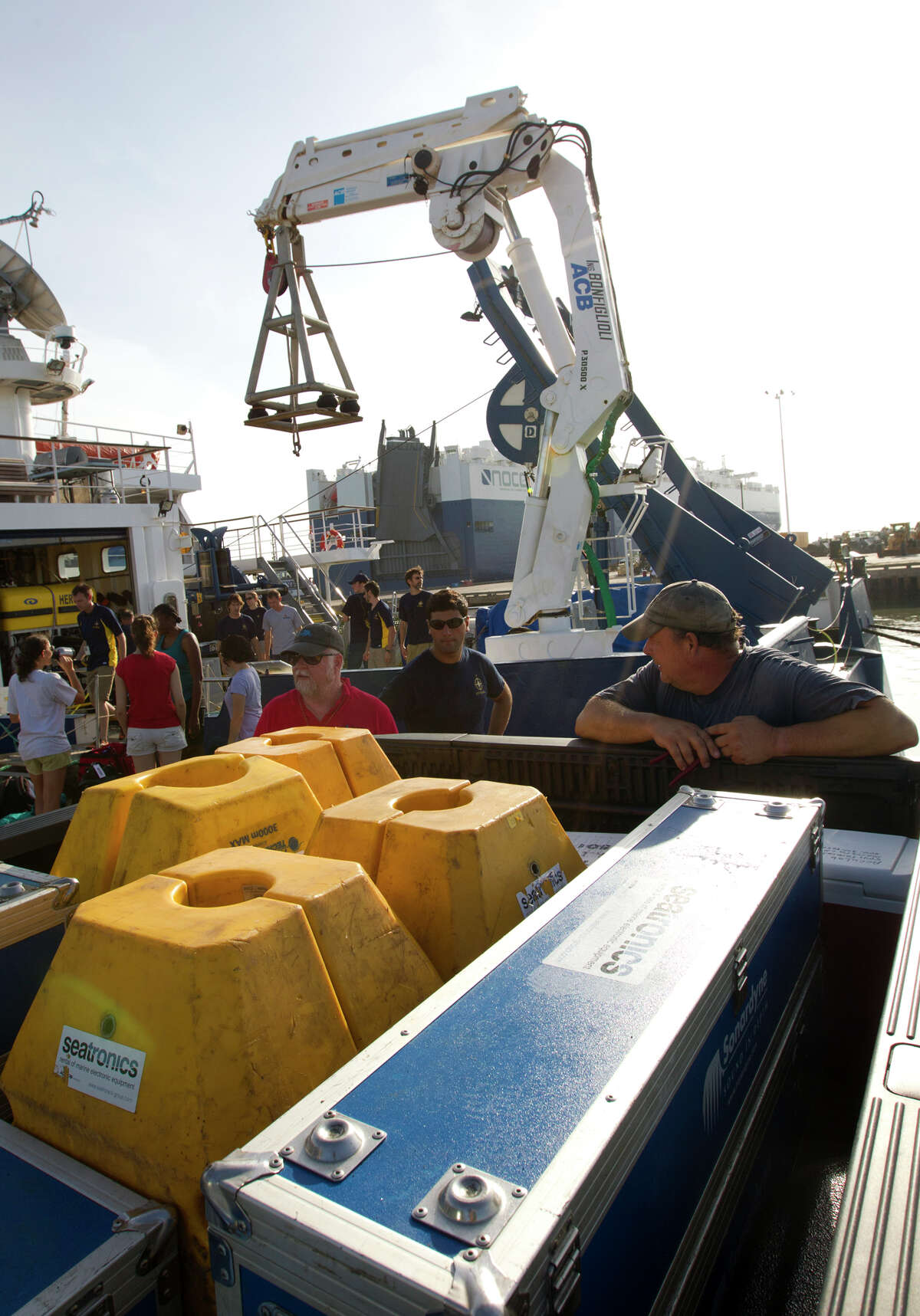 A truck sits loaded with artifacts after a crew returned from an approximately 170-mile voyage off Galveston to investigate a shipwreck on the Nautilus, Thursday, July 25, 2013, in Galveston. The crew brought back about 60 artifacts and plan to determine the ship's origin from studying the artifacts.