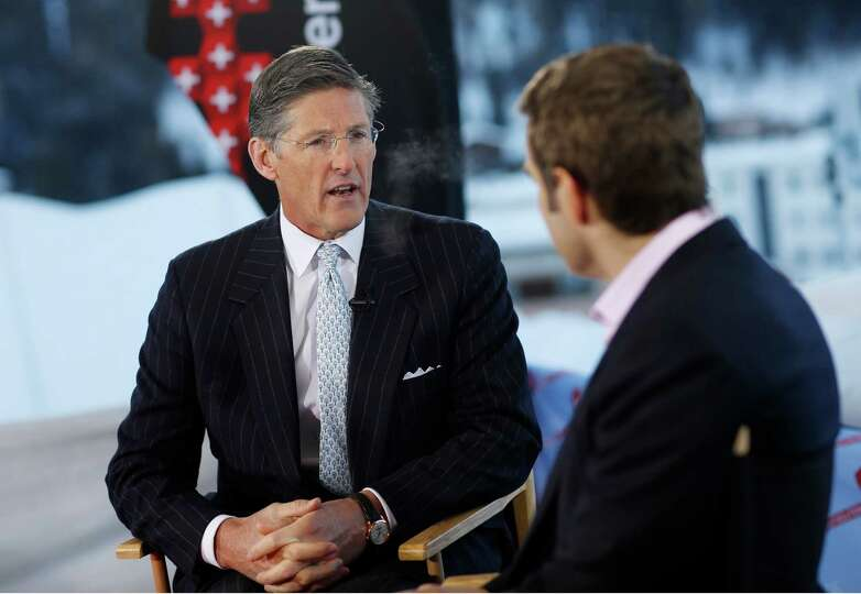 Michael Corbat, new chief executive officer of Citigroup Inc., left, speaks during a Bloomberg Telev