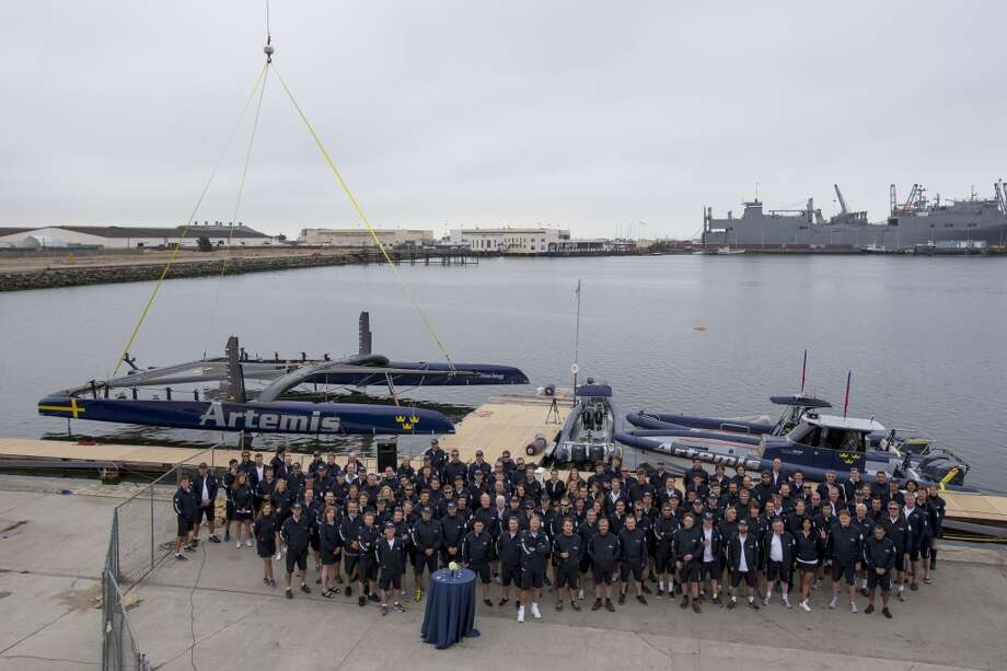 Artemis Racing is being launched and christened by Sarah Gundersen in the presence of Torbjörn Törnqvist and his son Frederic. Photo: Sander Van Der Borch, Artemis Racing
