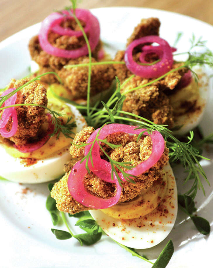 "In this photo from GQ magazine, the Green-Goddess Deviled Eggs from The Whelk restaurant, which GQ named the No. 1 dish among ìThe 50 Best Things to Eat and Drink Right Now."" Photo: GQ.com / Westport News"
