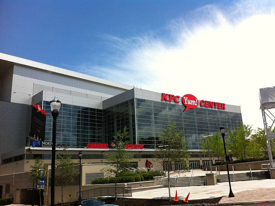 """5) KFC Yum! Center, University of Louisville Although appropriate for a Kentucky college, there's nothing """"finger-licking good"""" about this name. Yummy-ness has nothing to do with home team pride.  Photo: Wikimedia Commons"""