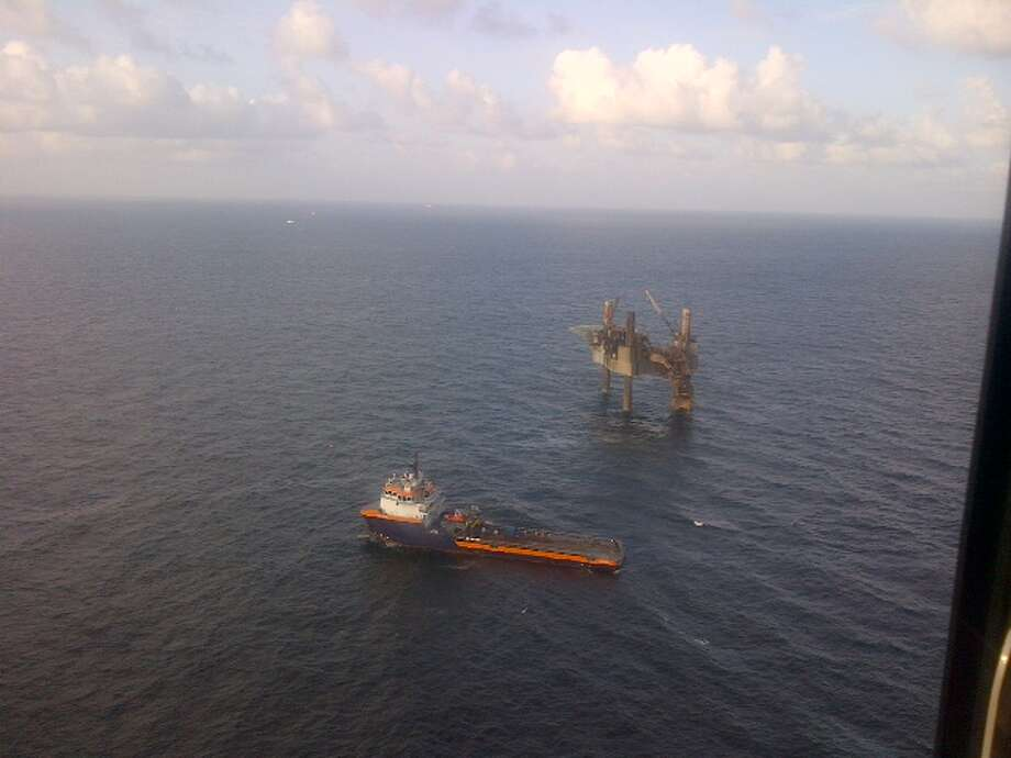 A photo taken on the morning of Thursday, July 25, shows the severely damaged Hercules 265 jack-up rig after a fire collapsed a portion of the structure. Photo: Hercules Offshore