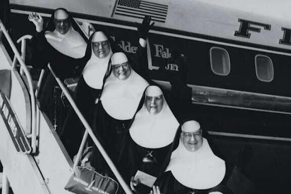 """The Sisters of Mercy, here bound for Peru, are featured in """"Band of Sisters,"""" about American nuns' transition since Vatican II."""