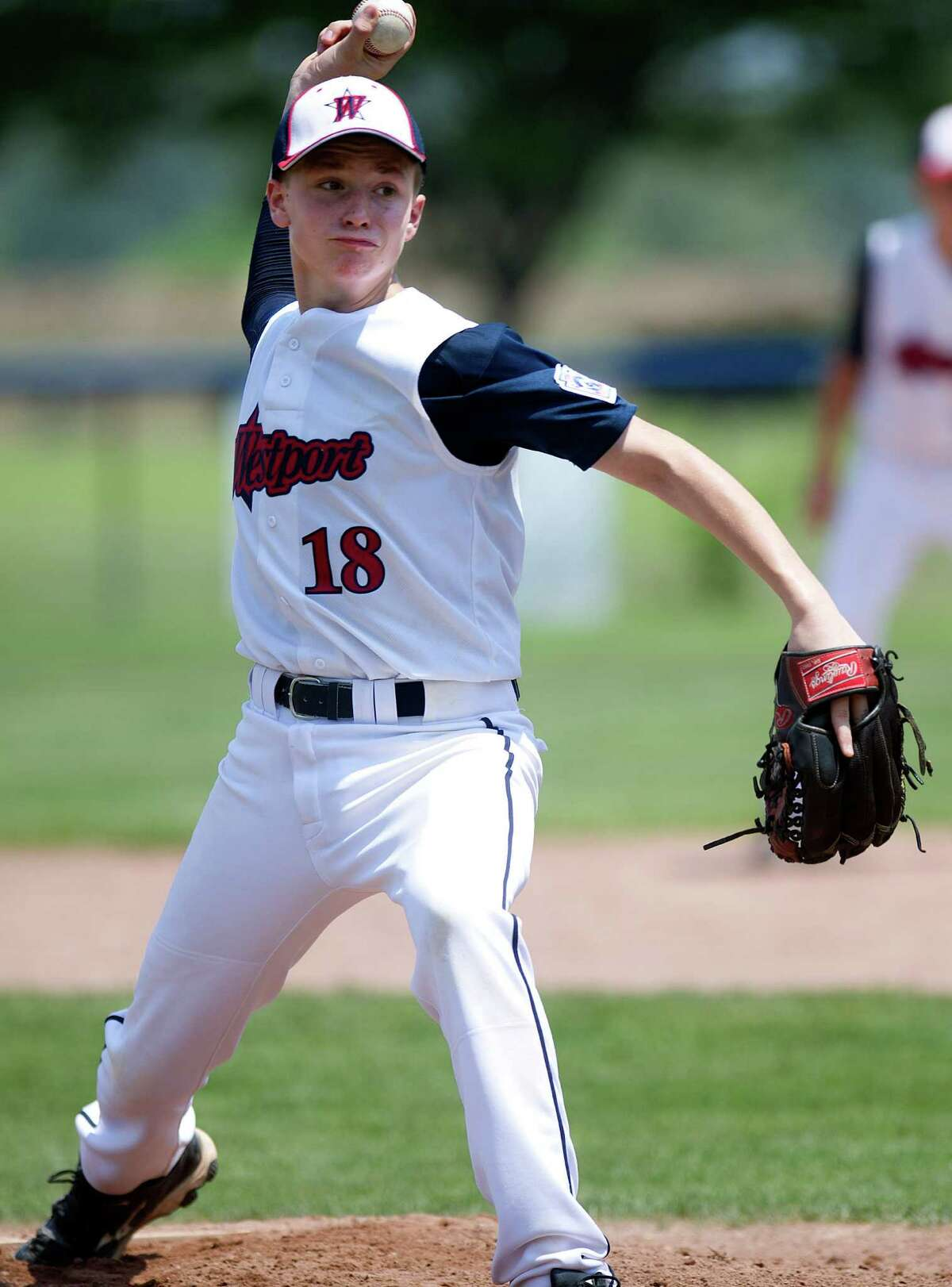 Westport's Harry Azadian pitches during Saturday's Little League Section 1 tournament game against Orange at Frank Noto Field in West Beach Park in Stamford, Conn., on July 20, 2013.