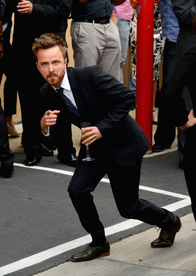 "Actor Aaron Paul arrives as AMC Celebrates the final episodes of ""Breaking Bad"" at Sony Pictures Studios on July 24, 2013 in Culver City, California.  (Photo by Mark Davis/Getty Images) Photo: Mark Davis, Getty Images"