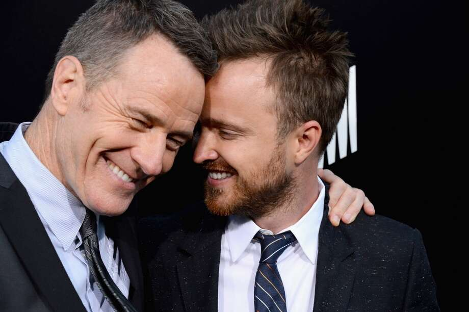 "Actors Bryan Cranston and Aaron Paul arrive as AMC Celebrates the final episodes of ""Breaking Bad"" at Sony Pictures Studios on July 24, 2013 in Culver City, California.  (Photo by Mark Davis/Getty Images) Photo: Mark Davis, Getty Images"