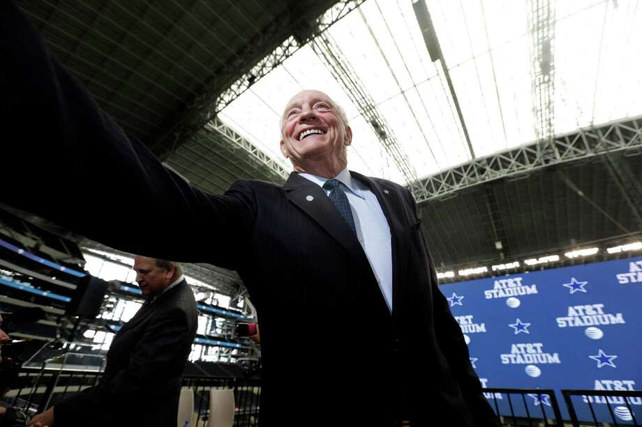 Dallas Cowboys owner Jerry Jones shakes hands after a news conference announcing the naming of the new AT&T Stadium Thursday, July 25, 2013, in Arlington, Texas. The terms of the naming deal were not released.  (AP Photo/LM Otero) Photo: LM Otero, Associated Press / AP