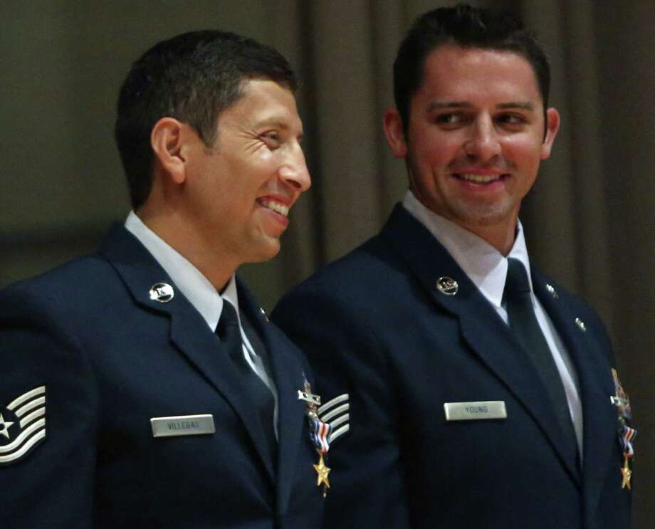 Tech Sgt. Ismael Villegas (left), with the 24th Special Operations Wing, and Staff Sgt. Dale C. Young, from the 342nd Training Squadron, were awarded Silver Stars. Photo: Helen L. Montoya / San Antonio Express-News