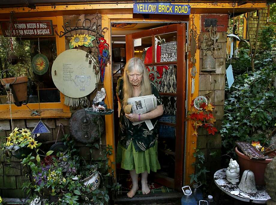 Mary Moore, longtime Bohemian Grove Action Network leader, doesn't think participants in the annual gathering are evil, but she objects to the idea that powerful men hole up in the woods to discuss policy. Photo: Brant Ward, The Chronicle