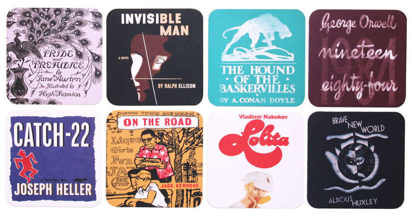 This set of eight water-resistant coasters comes from Out of Print, which celebrates the world's great stories through fashion. The coasters feature book cover art from