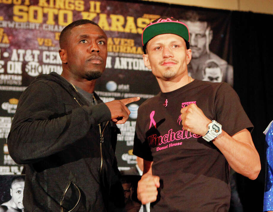 Two-Time Welterweight World Champion Andre Berto (left) and  Mexican contender Jesus Soto Karass stand together on the stage during the final press conference for Knockout Kings II at the San Antonio Marriott Rivercenter on Thursday, July 25, 2013.  The main event, to be held at the AT&T Center on July 27, features a fight between the two for the vancant NABF Welterweight title.  MARVIN PFEIFFER/ mpfeiffer@express-news.net Photo: MARVIN PFEIFFER, Marvin Pfeiffer/ Express-News / Express-News 2013