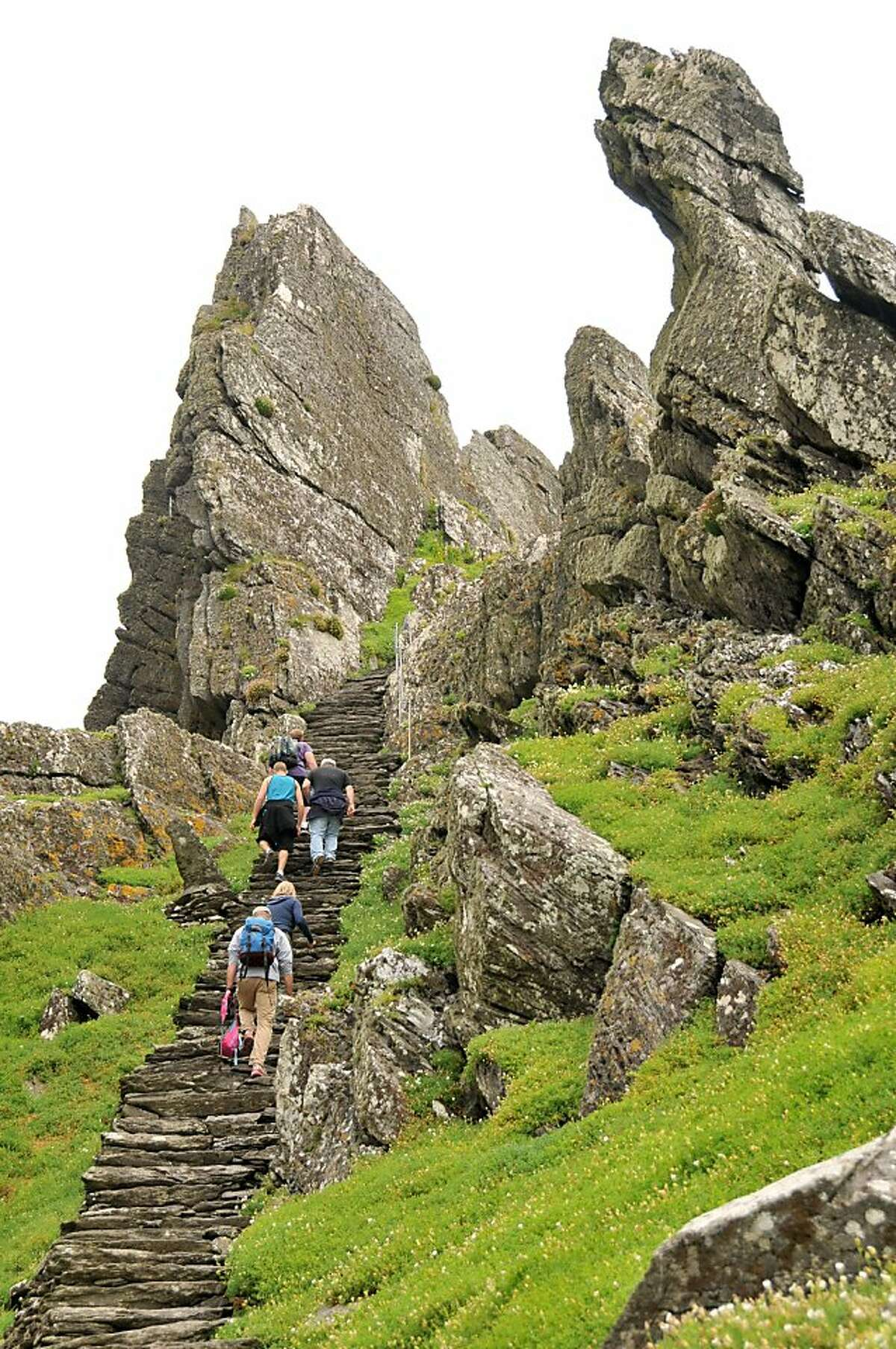 Some of the 600 stone steps leading to the hermit monks' monastery atop Skellig Michael Island.