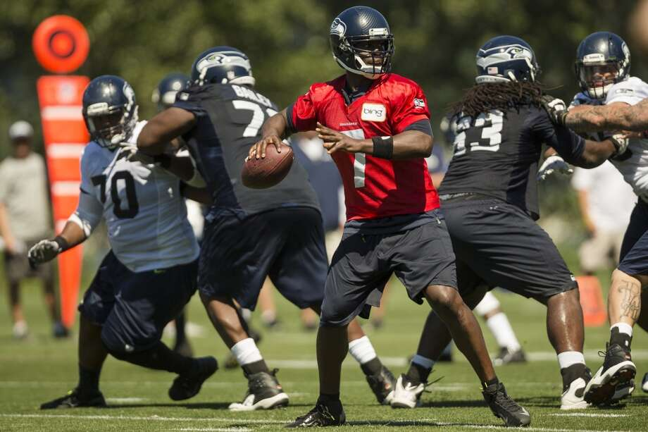 On what it means to have Tarvaris Jackson back, competing for the backup QB job:''He's great, man. Just being around him, he's a very knowledgeable guy. He's been in the system and knows all of these guys. So having Brady Quinn and Tarvaris here with us, it's a great quarterback room. Coach Carl Smith, our quarterback coach, he's awesome too. So it's exciting to be around guys who have been in the fire before, who have been on this team before. So just to be around them is really great.''  Photo: Jordan Stead, Seattlepi.com