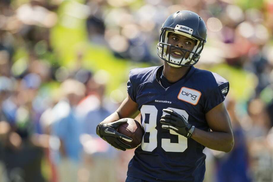 Stephen Williams runs across the field during a play on the opening day of the Seattle Seahawks training camp Thursday, July 25, 2013, at the Virginia Mason Athletic Center in Renton. The sold-out training camp runs through the preseason in August. Nearly 25,000 fans are expected to attend this month. (Jordan Stead, seattlepi.com) Photo: SEATTLEPI.COM