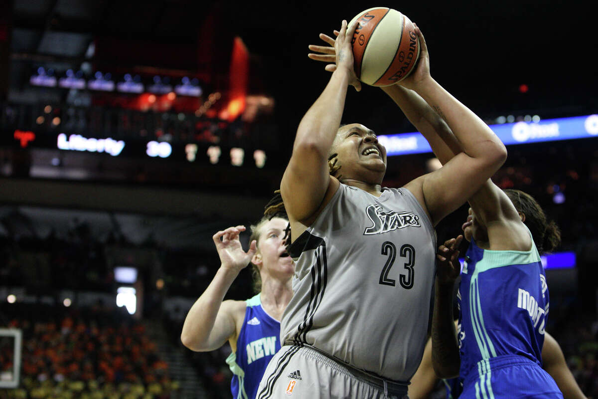 Silver Star's Danielle Adams shoots a layup out of bounds at the Silver Stars game against the New York Liberty at the AT&T center on Thursday, July 25, 2013. The Silver Stars won 65 to 53. Adams finished with 20 points and 34:10 minutes playing time.