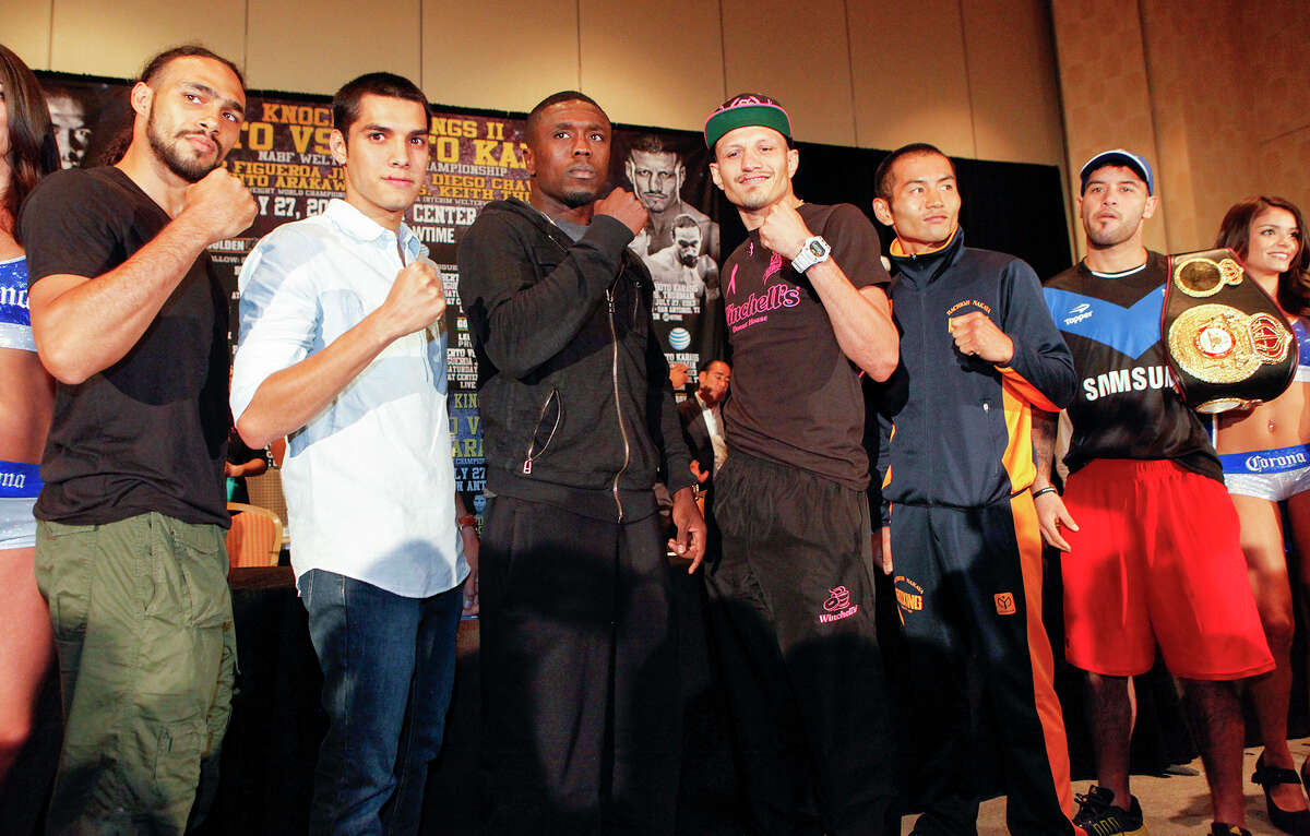 Keith Thurman (from left), Omar Figueroa, Jr., Andre Berto, Jesus Sots Karass, Nihito Arakawa and Diego Chaves stand together on the stage during the final press conference for Knockout Kings II at the San Antonio Marriott Rivercenter on Thursday, July 25, 2013. The main event, to be held at the AT&T Center on July 27, features Two-Time Welterweight World Champion Andre Berto (28-2) vs. Mexican contender Jesus Soto Karass (27-8-3) for the vancant NABF Welterweight title. MARVIN PFEIFFER/ mpfeiffer@express-news.net