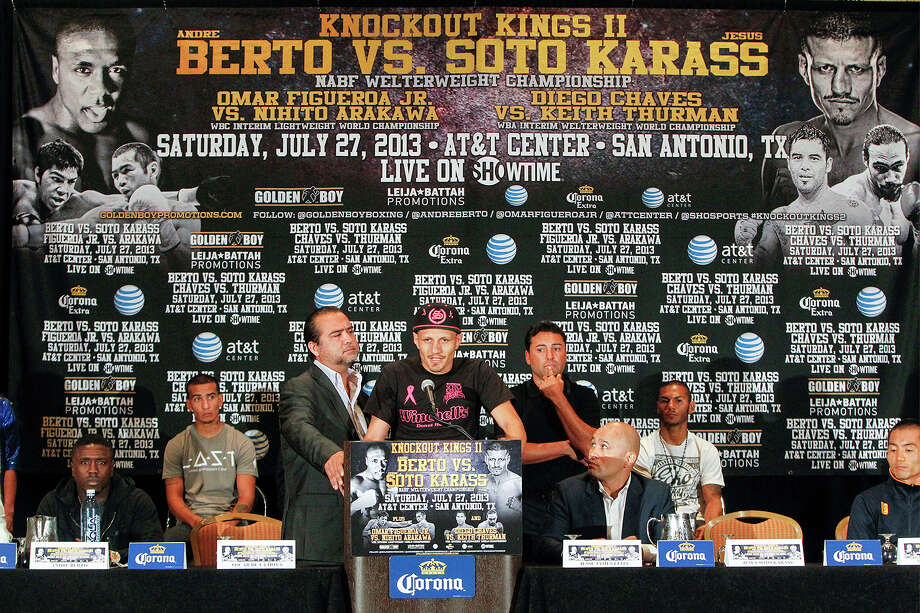 Mexican contenderJesus Soto Karass speaks during the final press conference for Knockout Kings II at the San Antonio Marriott Rivercenter on Thursday, July 25, 2013.  The main event, to be held at the AT&T Center on July 27, features Two-Time Welterweight World Champion Andre Berto (28-2) vs. Karass (27-8-3) for the vancant NABF Welterweight title.  MARVIN PFEIFFER/ mpfeiffer@express-news.net Photo: MARVIN PFEIFFER, Marvin Pfeiffer/ Express-News / Express-News 2013